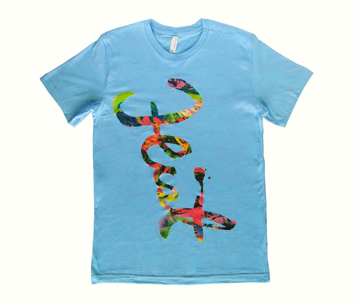 Feist script t shirt ocean blue pleasure feist for Ocean blue t shirt