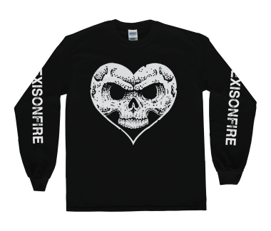 White on Black Heart Skull Longsleeve