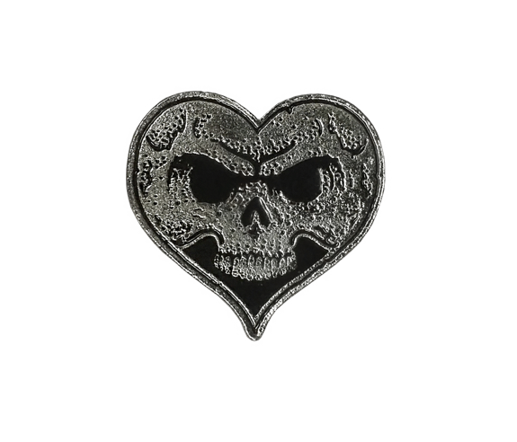 Heart Skull Lapel Pin - Black Fill