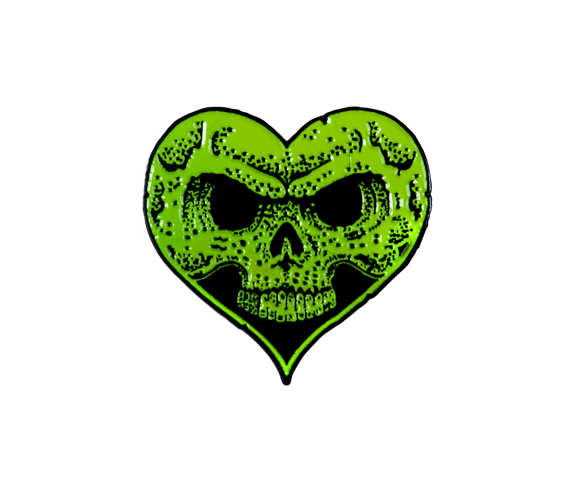 Heart Skull Lapel Pin - Neon Green Fill