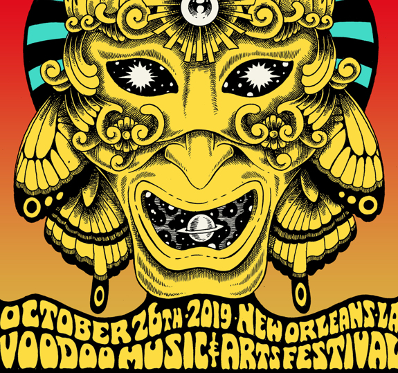 New Orleans Voodoo Fest Poster October 26, 2019 Cherry Tree Variant