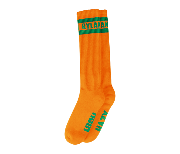 Rylan Knee High Socks (Orange/Green)